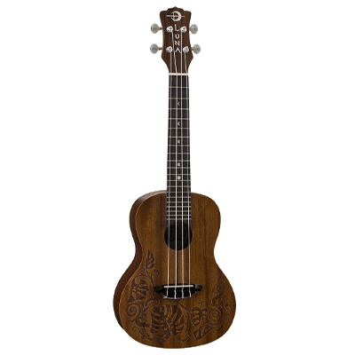 Luna Ukulele with Tribal Leaf Pattern