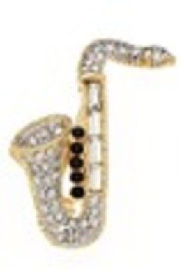 Rhinestone Brooch Saxophone RB101
