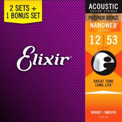 Elixir Phosphor Bronze Guitar - 3 for the price of 2 - Value Pack