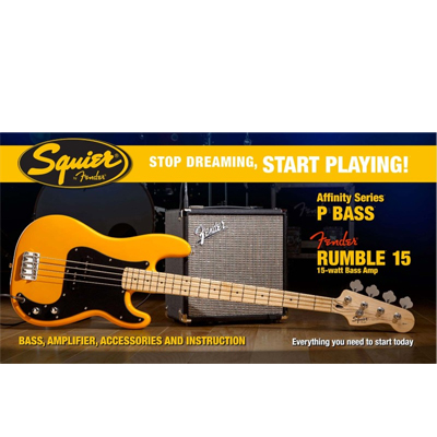 Fender P-Bass Starter Pack with Rumble 15 Amp