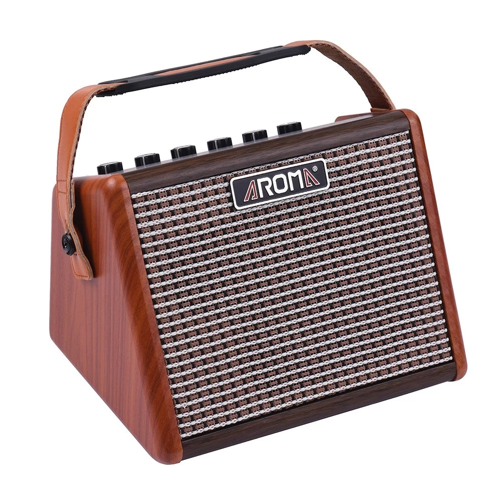 aroma ag 15a portable guitar amp rechargeable with microphone input. Black Bedroom Furniture Sets. Home Design Ideas