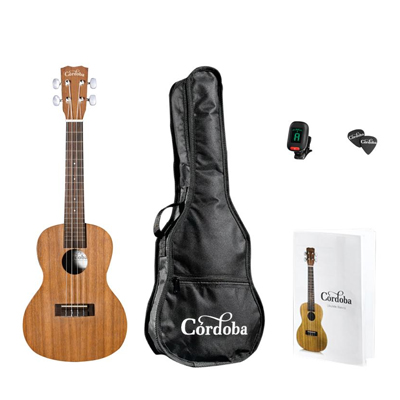 Corodba UP100 Concert Ukulele Pack. With Bag, Tuner, Quick Start Guide